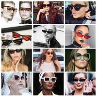 gafas de color teñido al por mayor-15 estilo Nuevo Ojo de Gato Mujeres Gafas de Sol Tintadas Lente de Color Hombres Gafas de Sol en Forma de Vendas Gafas de Sol Azules Gafas de sol Diseñador de la marca bldz002