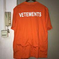 camisa reflexiva de algodão venda por atacado-3 M Reflexivo Laranja Vetement Camisetas Hip Hop Oversize Skate Homens Camiseta de Algodão Casal Streetwear Vetements T-Shirt