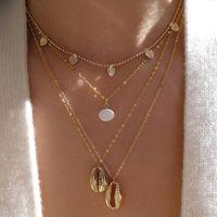 ethnische halskette legierung großhandel-Joker Legierung ethnischer Strand Schmuck weibliche Persönlichkeit Shell Perle mehrschichtige Halskette