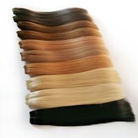 ingrosso pollici fasci brasiliani-AliMagic nero marrone biondo rosso fasci di tessuto per capelli umani 8-26 pollici estensione brasiliana diritta dei capelli non remy può acquistare 2 o 3 pacchi
