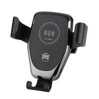 araba tutacağı şarj cihazı toptan satış-Araç Montaj Qi Kablosuz Şarj Için iPhone XS X XR 8 Hızlı Kablosuz Şarj Araç Telefonu Tutucu Samsung Not 9 S9 S8