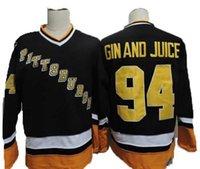 hockey jerseys оптовых-Музыкальное видео Mens Snoop Dogg # 94 Джин и сок Джерси Питтсбург Хоккейные майки 94 Джин и сок Хоккейные майки сшитые высокого качества