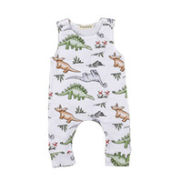 Wholesale baby boy dinosaur clothes resale online - Baby Dinosaur Button Rompers Kids Clothes Paradise Printed Jumpsuits Climbing Clothes Boys and Girls Sleeveless Round Neck