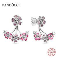 персиковый шарм серебристый оптовых-2019 Mother Gift Romatic Peach Blossom 925 Silver Stud Earring for Women DIY Fits for European Original Charm Jewelry PANDOCCI