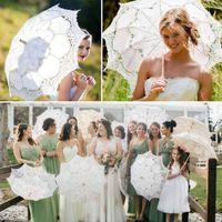 casamento guarda-sóis venda por atacado-Guarda-chuva de Renda Vintage Parasol Guarda-sol para Decoração de Casamento Fotografia Branco Bege Sombrinha de Renda