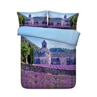 bettwäsche decke sets großhandel-Floral Lavendel Bettbezug 3 Stück Galaxy Bedding Set 2 passende Kissen Shams Landschaft Tagesdecke Sonnenuntergang Tagesdecke Blume Garten Tröster