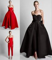zuhair murad dress bow großhandel-Mode Rot Abnehmbarem Zug Abend Prom Kleider Günstige Overalls Bögen Schatz Einfache Satin Hosen Anzüge Großhandel Zuhair Murad