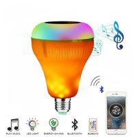 altavoces decorativos al por mayor-E27 Lámpara Led Altavoz Bluetooth Llama Bombilla Inteligente Reproductor de música inalámbrico Llama decorativa Lámpara LED RGB Regulable Audio Parpadeo Llama Luz