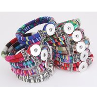 farbige seilarmbänder großhandel-Farben Seil Armband NOOSA Ginger Snap Charm Armbänder 18mm Geflochtene Druckknopf Bangle Wrap Armband Armband für DIY Schmuck DHL FREE