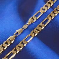 цепь 24k mens оптовых-24K solid gold мужские 24k Solid Gold GF 8 мм итальянский Фигаро цепи ожерелье 24 дюйма