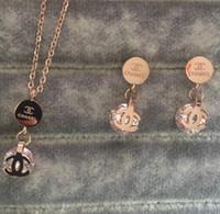 conjuntos de boda al por mayor-Nuevo 2019 Diseñador de la marca de lujo Collares de diamantes Pendientes Juegos de joyas con doble letra 18 k oro plata rosa oro Mujeres Boda Envío gratis