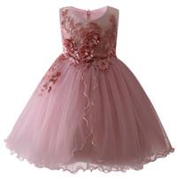 baby puffy dresses toptan satış-Kızlar Yeni Doğum Günü Romantik Elbise Çocuk Bebek Tatlı Çiçek Kız Elbise Aplike Prenses Kabarık Elbise Çocuk Giyim J190505