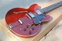 jazz gitarre hohlkörper f löcher großhandel-Fabrik Billig Benutzerdefinierte Red Solid Maple Top ES-Modell Halbhohlkörper Doppel F-Löcher Jazz E-Gitarre