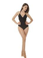 металлические купальники оптовых-Новый черный металл цельный купальник для женщин 85151