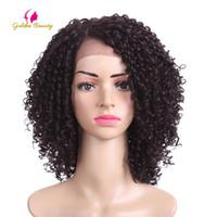 peinados rizados cortos para afroamericanos al por mayor-Oro belleza 14 pulgadas rizado rizado sintético frente del cordón peluca pelo corto Afro corte en V peinados para pelucas afroamericanas negras Y190717