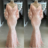 Yousef Aljasmi 2020 Evening Dresses V Neck Lace Appliqued Pink Feather Mermaid Prom Gowns Long Sleeves Sweep Train Special Occasion Dress
