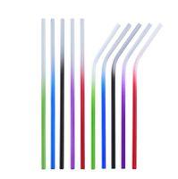 ingrosso 6 paglie di paglia-Cannucce riutilizzabili diritte pieganti del metallo 300 * 6mm della paglia di cambiamento di colore della temperatura dell'acciaio inossidabile 300pcs OOA7077