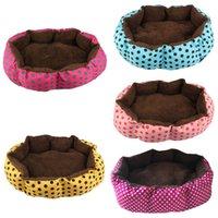ingrosso canili portatili-Morbido peluche Super Soft Pet Bed Kennel Dog Round Cat Inverno Caldo Sacco a pelo Cucciolo Cuscino Mat Forniture per gatti portatili wh0814