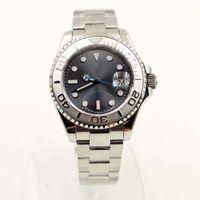 montre-bracelet à pois achat en gros de-Cadrans rhodiés foncés des montres-bracelet pour hommes de mouvement automatique de 40MM avec les mains de ton argent lumineux et les marqueurs de point-heure
