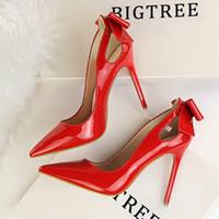 après les chaussures de fête achat en gros de-Robe Bigtree Sexy Stiletto Shallow Pointu Talons Chaussures de bureau en cuir verni évidé après la chaussure de mariage de fête papillon
