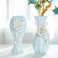 jarrón de porcelana de regalo al por mayor-Jarrón de porcelana sala de estar decoraciones de mesa Jarrón de porcelana moderno simple decoración de la boda del hogar regalos