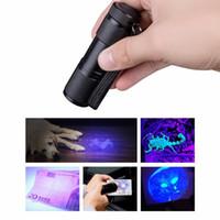 bateria de lanterna ultrafire c8 venda por atacado-9 LED Mini De Alumínio UV Ultra Violeta Lanterna Tocha Lâmpada Luz Invisível Marcador De Tinta De Detecção De Luz Negra