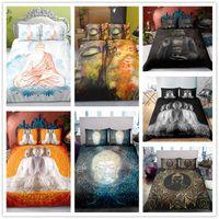 chinesische doppelbetten großhandel-Chinesischen Stil Buddha-Serie Bettwäsche Set Single Double King Size Soft für Erwachsene Bettbezug Set Schwarz Klassische Bettwäsche Supplies