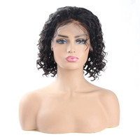 Wholesale short deep wave human hair for sale - Group buy Malaysian Human Hair Wigs Indian Bob Wigs Kinky Curly Short Wig Peruvian Hair Fashion Deep Wave Curly Human Hair Lace Front Wigs