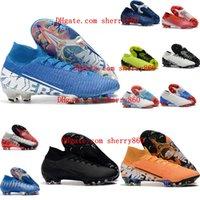 высокие туфли neymar оптовых-2018 новых прибытия мужской футбол Бутсы Mercurial Superfly 7 Elite NJR CR7 FG футбольные ботинки высокой лодыжки бутсы Неймар Рональдо Tacos де фу