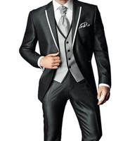 ingrosso legami su misura-2017 Nuovo Arrivo Su Misura Grigio Classico Matrimonio Groom Suit Per Gli Uomini Smoking Da Sposa Groomsmen Best Man Suit (Jacket + Pants + Vest + Tie)