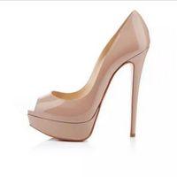 ingrosso le pompe nude offrono scarpe da punta-Vendita calda-Classic Marca Rosso Bottom Tacchi alti Piattaforma scarpette Nude / nero in pelle verniciata Peep-toe donne abito scarpe taglia 34-45 l
