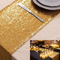 5PCS Pack Gold Sequin Table Cover, 12x108inch Sequin Table Runner for Party Wedding Home Decoration (30 by275cm)