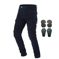 motocross, corrida, calças venda por atacado-Takuey Men Motocicleta Equitação Calças Jeans Motocross Com 4 Protect Pads Equipamentos de Corrida Cavaleiro Calças Pretas