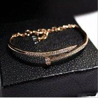 bracelet en diamant couleur achat en gros de-Européen Nouveau et Américain Tendance Tempérament Diamant Couleur Bracelet Bracelet Vernis À Ongles Véritable Or Couleur Femme