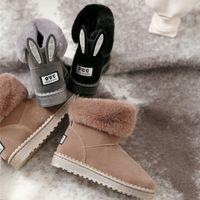 bota curta marrom venda por atacado-Designer Botas Austrália Mulheres Menina da neve Botas Bowtie tornozelo arco curto de pele do inverno bota preta Brown Grey Castanha 676294
