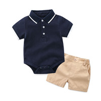 Wholesale polo kids set for sale - baby boy romper sets INS summer new style kids pure color Polo romper outfit cotton casual shorts two sets