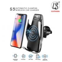 iphone s5 автомобильный держатель оптовых-S5 беспроводное автомобильное зарядное устройство автоматический зажим для iphone Android вентиляционное отверстие Держатель телефона 360 градусов вращения 10 Вт быстрая зарядка с коробкой
