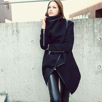 manteau d'hiver asymétrique achat en gros de-Mode Automne Hiver Femmes Manches Longues Revers Mélange De Laine OverCoat Asymétrique Longue Veste Manteau Outwear Zipper Up Plus La Taille YF63