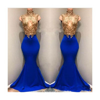 Wholesale special occasion dresses online - Luxury High Neck Mermaid Prom Dresses Gold Sequins Sleeveless With Royal Blue Long Train Evening Dresses Special Occasion Gowns