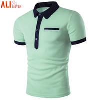 mais tamanho polo verde venda por atacado-Moda Camisa Polo Verde Homens Polo 2019 Estilo Verão de Manga Curta Camisas de Cor Sólida Mens Polos Plus Size 3XL
