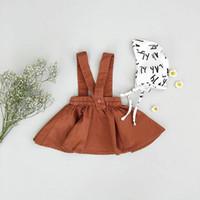 ingrosso tutus marrone-2018 bambini delle neonate Suspender Skirt Tutu Abiti Brown Tuta gonne con spalline ragazza del capretto del vestito da partito Kid Abbigliamento 6M-3Y