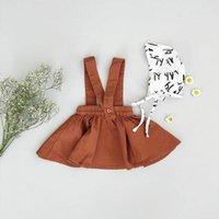 tirantes niños marrones al por mayor-2018 niños de los bebés vestidos de falda de la liga Tutu Brown Trajes de faldas con cintas de hombro Party Girl Dress Kid Kid Ropa 6M-3Y