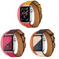 iphone saat bantları toptan satış-Deri Kayış Apple Band iwatch 1 2 3 bantları Spor Kayışı iphone Iwatch Deri Kayışı Için Yeni Toka İzle Kemer