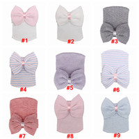 Wholesale crochet baby hats for newborns resale online - Baby Crochet Bowknot Hats Beanies Cute Baby Girl Soft Knitting Hedging Caps with Big Bows Warm Tire Cotton Cap For Newborn Infant LJJA3340
