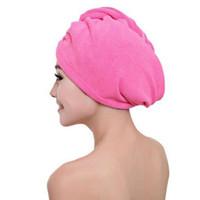 hızlı kurulama kapağı toptan satış-Mikrofiber Duş Sonra Saç Kurutma Wrap Womens Kızlar Lady Havlu Hızlı Kuru Saç Şapka Kap Türban Başkanı Wrap Banyo Araçları
