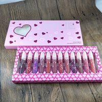 Wholesale oz box set for sale - Group buy Makeup pink box net wt poids net fi oz ml Brand Matte Lip Gloss maquillage make up lipgloss set lipstick