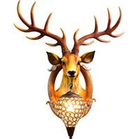 acender o tubo venda por atacado-lâmpada de parede americano animal cervos Cristal sconce sentimento de madeira Resina Retro Brown parede veados luz branca 61x41cm Início Sala Luz B571