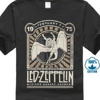t impression carrée achat en gros de-Led Zeppelin Herren T Shirt Madison Square Garden 1975 Schwarz Nouveaux Tops 2018 Imprimer Lettres Hommes T Shirt Noir Coton T Shirt