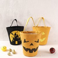 Wholesale fabrics storage basket resale online - Halloween Basket masquerade pumpkin party Canvas Bag skull Cartoon print Storage bag kids Candy Basket handbag Gift Pouch LJJA3130