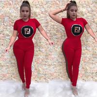 Wholesale plus size leggings sale for sale - Group buy Women Letters Print Tracksuit Summer Short Sleeve T shirt Pants Leggings Sportswear Plus Size Outfits Sports Joggers Set sale B3185